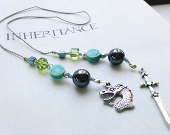 Dragon and Sword Inheritance Cycle Bookmark - Jeweled Beaded Book Thong  in Rich Teal Green Blues with Silver Dragon and Sword Charms Eragon