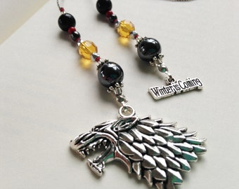 Game of Thrones HOUSE STARK Gift Bookmark Beaded Book Thong Rear View Mirror Accessory Winter is Coming and Gray Wolf Charms Gift Reading