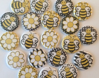 "set of 20 1"" or 1.25 inch bumble bee buttons pin flat back, hollowback or magnets"