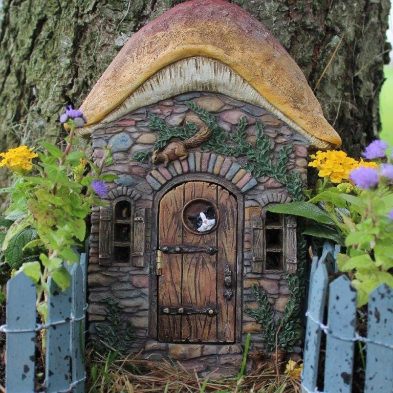 Kittens corner fairy door for the fairy garden for Fairy house doors