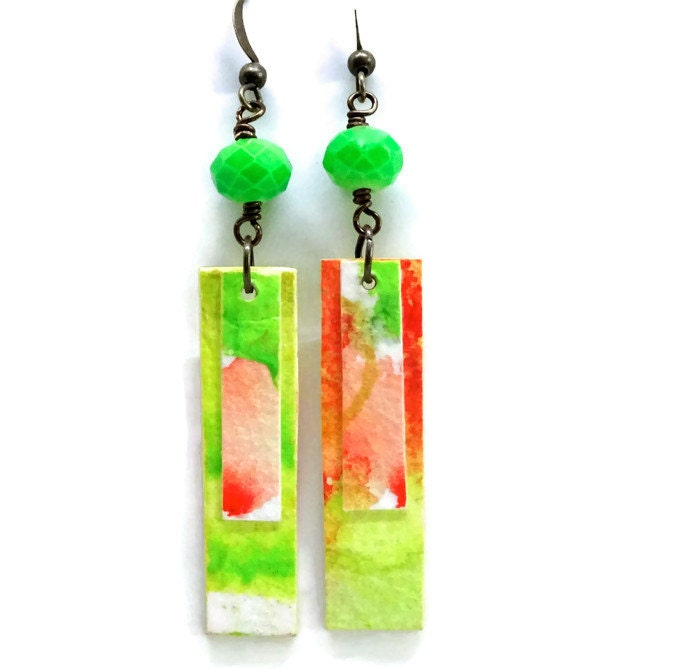 Watercolor earrings paper first anniversary gift