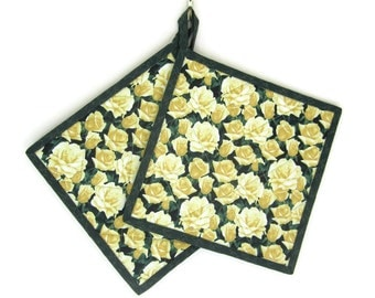 "Quilted Potholders Set of Two ""Yellow Roses"" Quiltsy Handmade, Fabric Hot pads"