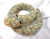 Crochet Snake, Toy Snake, Snake Door Draft Stopper, Crocheted Gray and Tan Snake by CrochetedbyCharlene