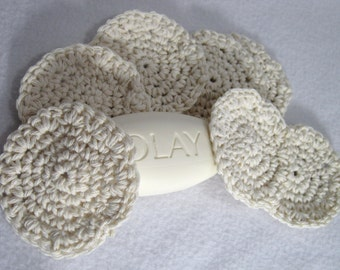 Cotton Facial Cloths, Reusable Make Up Removers, Beauty Cloths, Facial Scrubbies All Cotton Cream Face Scrubbies by Charlene
