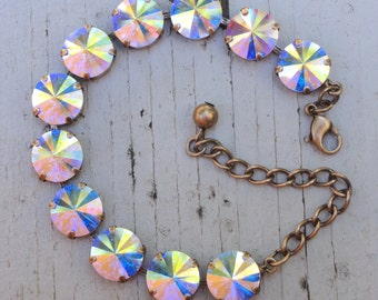 Aurora Borealis Swarovski Crystal Cup Chain Antique Brass Bracelet, Iridescent AB Crystal Bracelet, Prom/Bridesmaid 12mm Crystal Bracelet