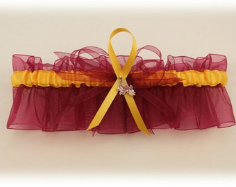 Sheer Wedding Keepsake Garter Set with Arizona State University Colors, Bridal Garter