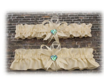 Ivory Satin Wedding Garter with Paua Deco, Bridal Garter, Prom Garter  (Your Choice, Single or Set)