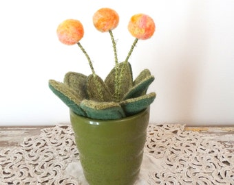 Knit Plant - Wool Plant - Potted Fake Plant - Peach Pom Pom Flowers - Green German Pot - Round Felt Flower - Modern Floral Arrangement