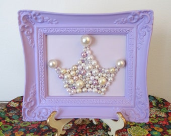 Princess Crown Mosaic - Pastel purple Ornate Frame - Lilac, lavender girl Nursery wall art - Sparkle glitter picture -  3d Pearl Crown Tiara