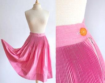 Vintage 50s skirt | 1950s cotton skirt | Pink cotton full skirt