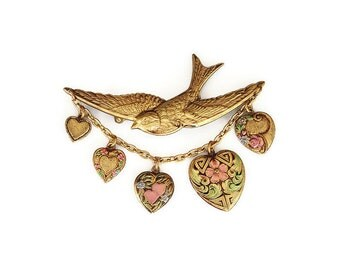 Victorian Style Brooch, Bird Swallow, Heart Charms, Gold Tone, Pink Green, Tinted Embossed, Vintage Brooch