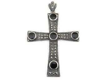 Sterling Silver Cross, Onyx Gemstone, Marcasites, Silver 925, Christian Cross, Religious Jewelry, Vintage Jewelry, Vintage Pendant