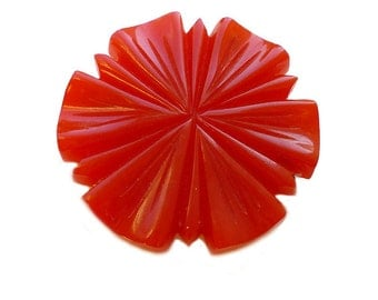 Red Bakelite Brooch, Deeply Carved, Early Plastic Resin, Statement Pin, Vintage Jewelry