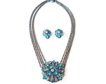 Art Deco Necklace Earrings, Rhinestone Jewelry Set, Silver Tone, Mesh Medallion, Aqua Blue Clear, Czech Style, Vintage Jewelry