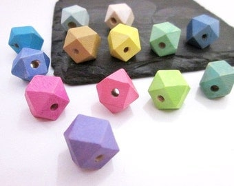 Faceted Wood Bead Supply -- Geometric Wood Beads -- Painted Wood Beads -- Modern Cube Beads -- Colorful Bead Supply -- Wooden Beads