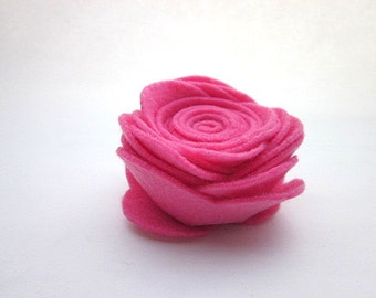 Big Pink Rose -- Bright Pink Clip -- Bright Pink Flower Accessory -- Large Rose Pin -- Large Pink Flower Pin -- Bright Pink Flower Pin