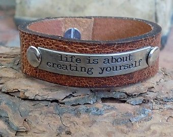 Leather Cuff Antique Silver Metal Life Quote Life is About Creating Yourself Rivets Button Stud Closure Size Small