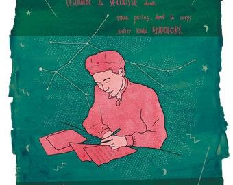 Simone de Beauvoir print, Simone de Beauvoir illustration