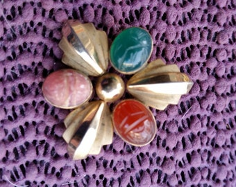 This is a fabulous 1950's Scarab  brooch / pin marked 14 kt gold filled
