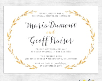 winter rehearsal dinner invitation / Gold Foil rehearsal dinner invitations / printable invitations / printed invitations