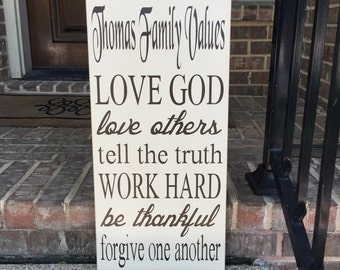 Family Values Custom Wood Sign ~ Personalized Family Rules Sign ~ Wedding Gift ~ Anniversary Gift ~ Rules Sign ~ Rules Wall Art ~Family Sign