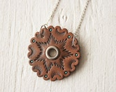 Southwestern Mandala Wheel Leather Necklace - Handmade Leather Pendant - Mesa Dreams - Rustic jewelry - Ready to Ship