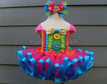 RIBBON trimmed tutus. CIRCUS CARNIVAL clown tutu. birthday tutu. candyland tutu.first birthday tutu.pageant dress.mad hatter tutu..dress