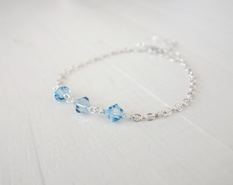 Small chain bracelet dainty bracelet blue crystals bracelet minimalist bracelet for women