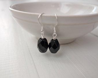 Black bead earrings minimal earrings women large faceted bead elegant earrings