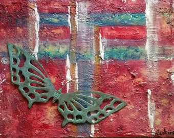 Original highly textural abstract painting with metal butterfly.