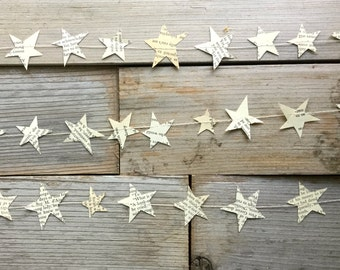Vintage book paper stars hand cut garland