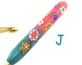 Susan Bates, J 10/ 6.00mm Polymer Clay Covered Crochet Hook, Turtles and Butterflies