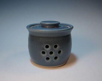 Garlic Jar - Variegated Blue - Handmade - In Stock
