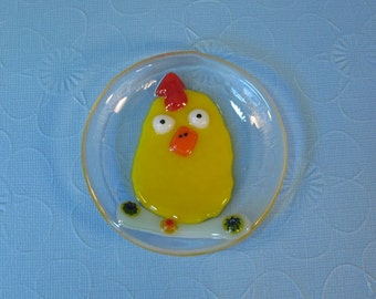 Tiny Chicken Trinket Dish - Fused Glass Ring Dish or Home Decor - Handmade Gift