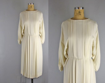 Vintage 1970s Donald Brooks Dress l 70s Ivory Dress