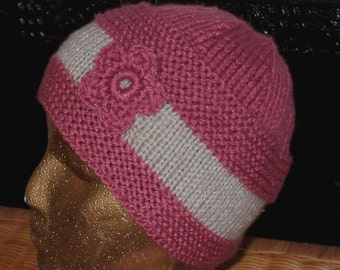 Hand knit hat in a soft dark rose and linen 100 percent Acrylic