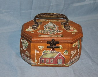 Vintage 1970's Decoupage Purse, D141