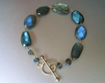 Labradorite Solid 14k Gold Toggle Bracelet