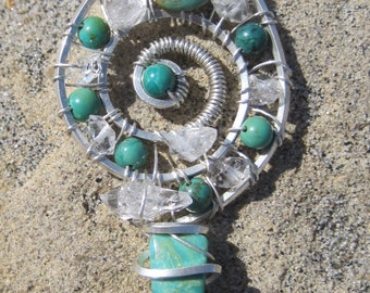 Sacred Spirals///Majestic Beauty///Green Turquoise, Himalayan Quartz and Sterling Silver Wire Wrapped Spiral  Pendent /// Wire Wrap