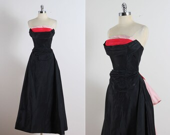Reserved /// Vintage 40s Dress | 1940s Fred Perlberg gown | strapless dress xs | 5422