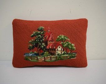 """Vintage 60s/70s Needlepoint Pillow Village Town Woods Scene w Plaid Wool Backing 13"""" x 9"""""""