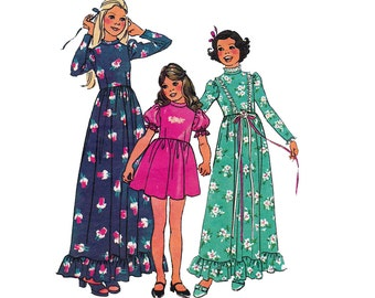 70s Girls Boho Dress Maxi Pattern Simplicity 6736 Vintage Sewing Pattern Size 8 Breast 27 inches