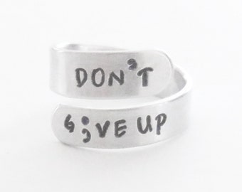 Inspirational jewelry semicolon ring don't give up depression recovery gift suicide awareness