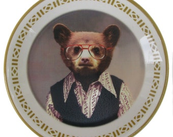 Benji Bear, School Portrait - Altered Vintage plate 5.5""