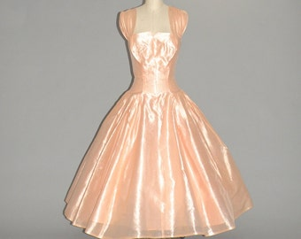 50s Prom Dress, 1950s Formal Dress, Peach Pink 50s Party Dress with Sweeping Full Skirt XS