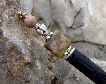 Handmade Hair Stick Hair Pin - Muted Jungle Jasper with Soft Brown Riverstone and Sterling Silver Accents - Delores