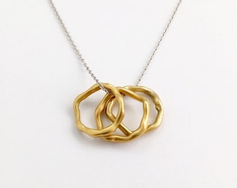 Gold Circle Necklace, Triple Circle Necklace, Mixed Metal Necklace