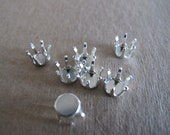 7 Sterling Silver Snap Settings, 8mm with 6 prongs