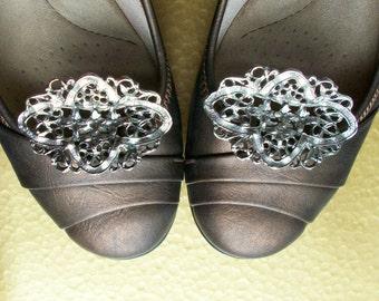Vtg Shoe Clips - Silver Tone Filigree