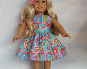 18 inch doll clothes - #304 Paisley Dress made to fit the American Girl Doll - FREE SHIPPING